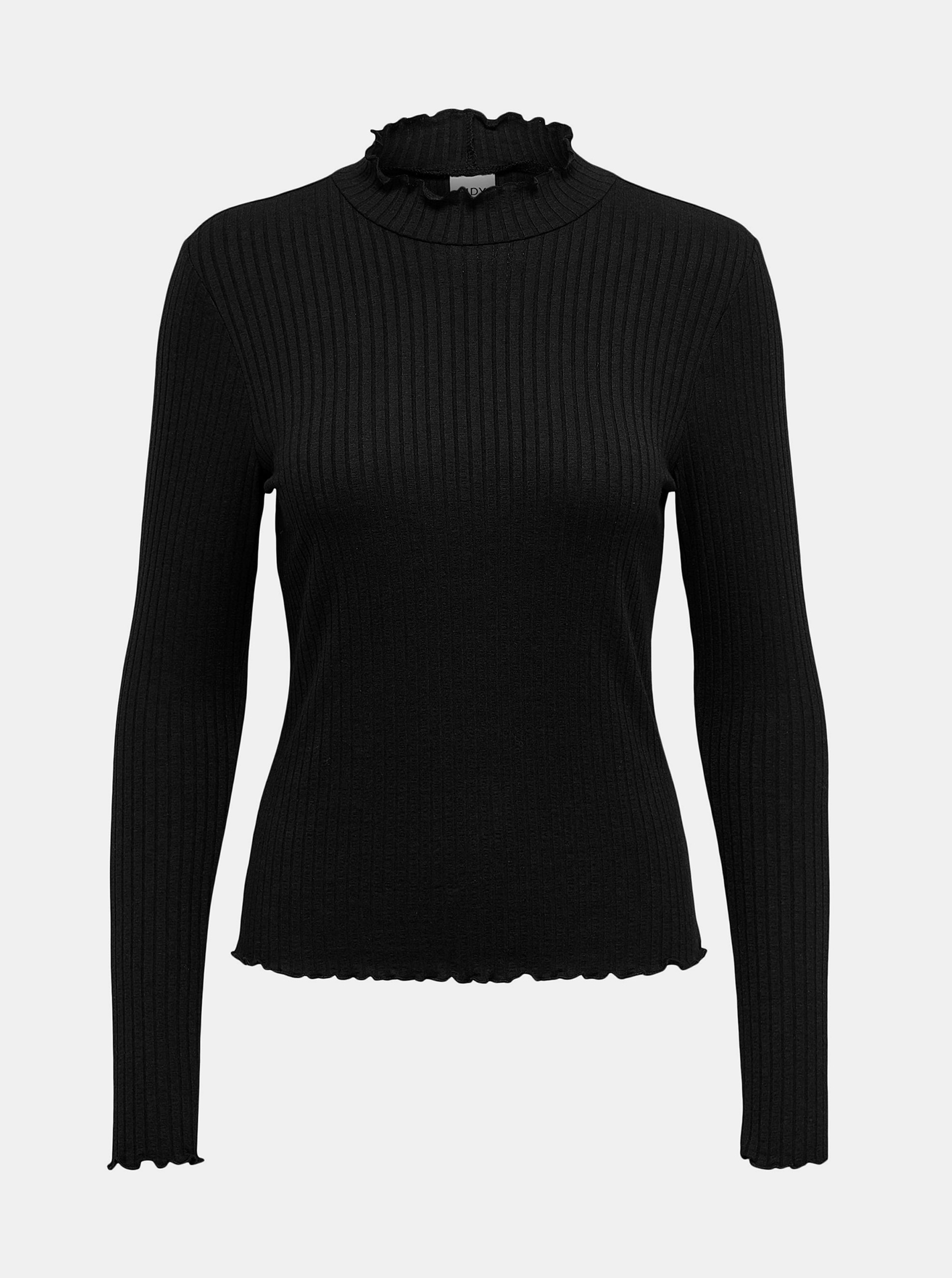 Jacqueline de Yong crna majica Fransiska s ovratnikom