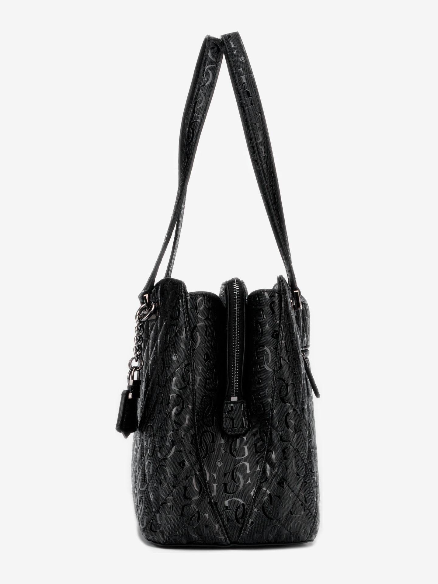 Guess crna torbica Lola Glossy Logo Maxi
