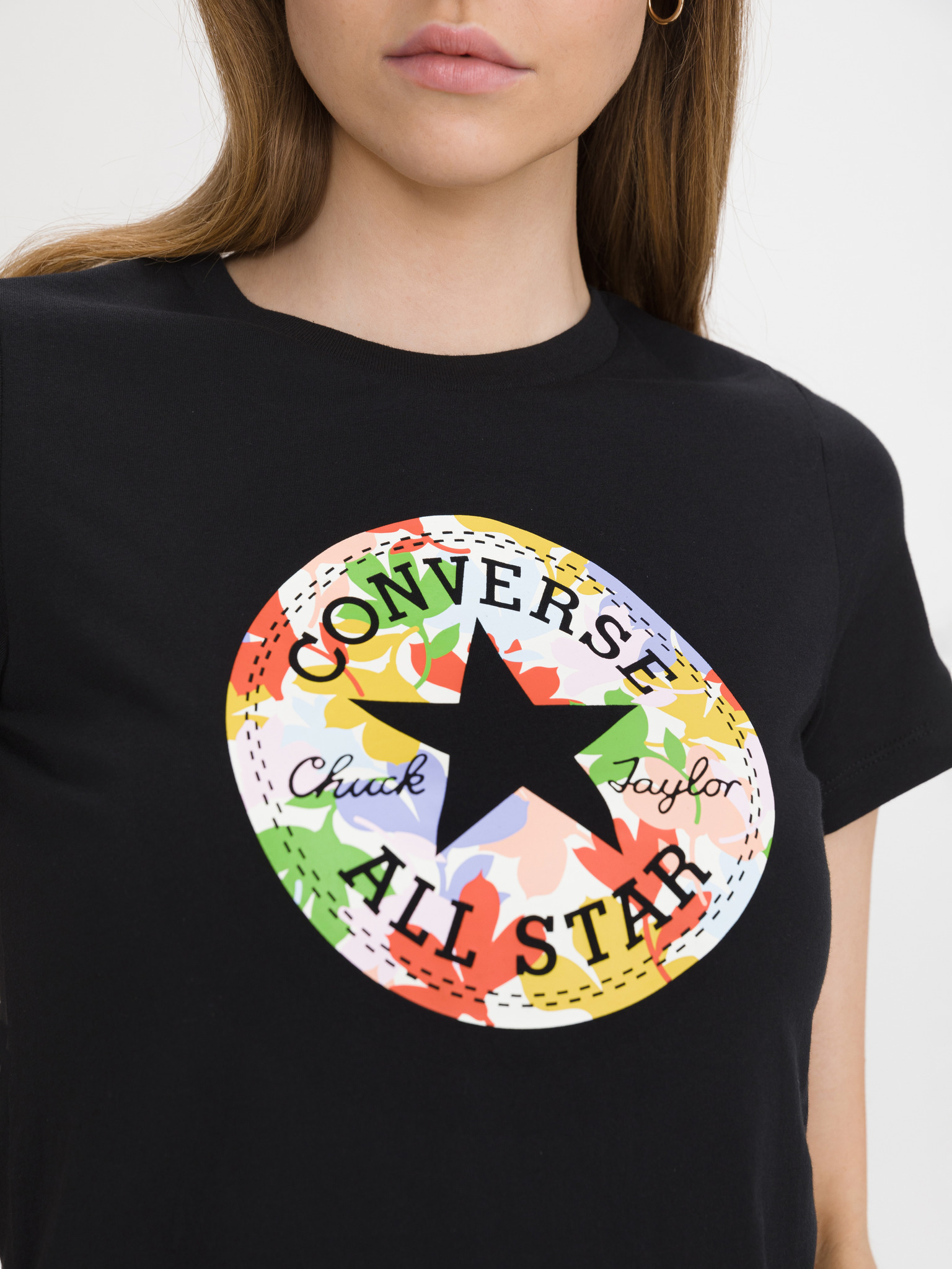 Converse crna majica Flower Vibes Chuck Patch