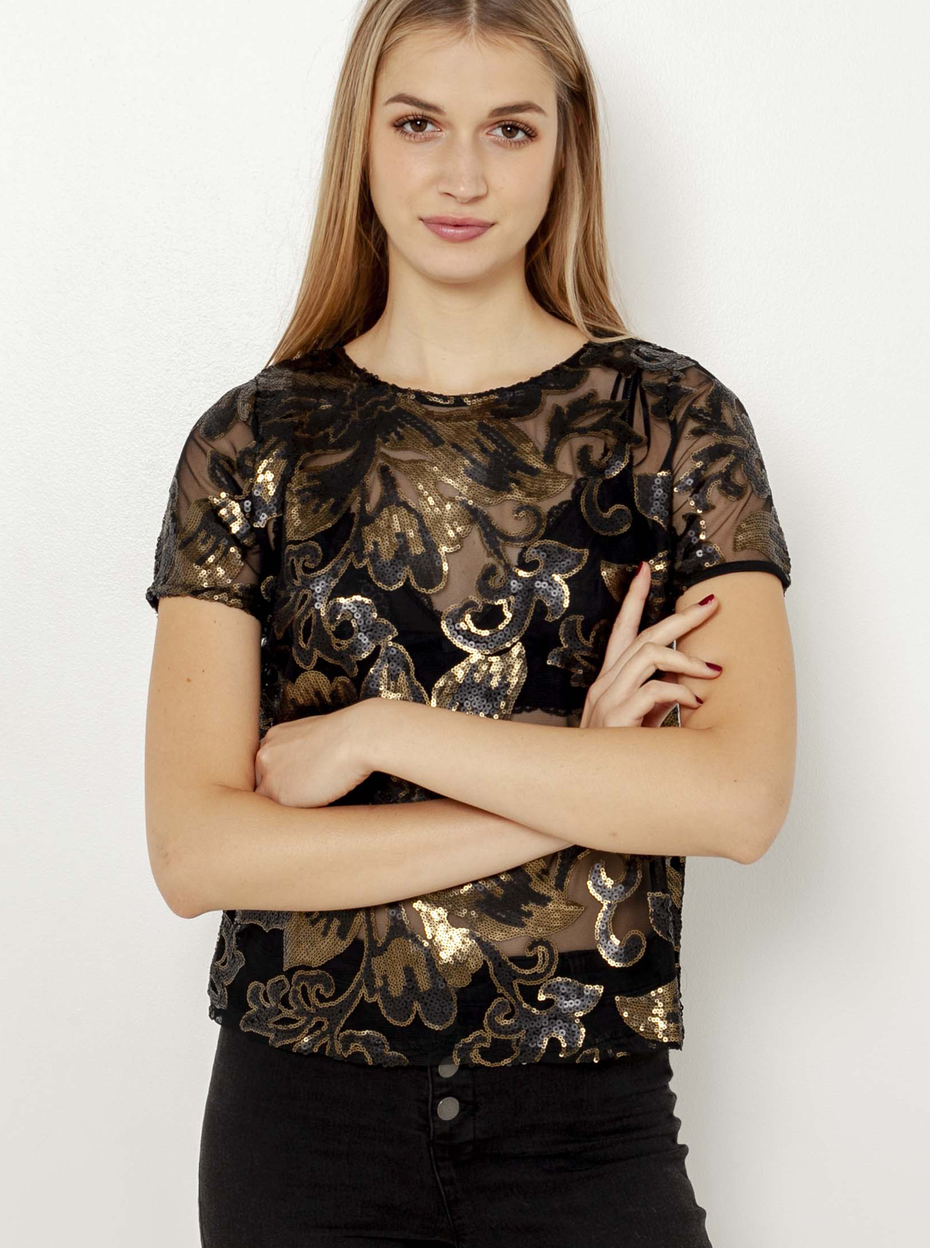 CAMAIEU crna prozirna bluza s cvjetnim motivom