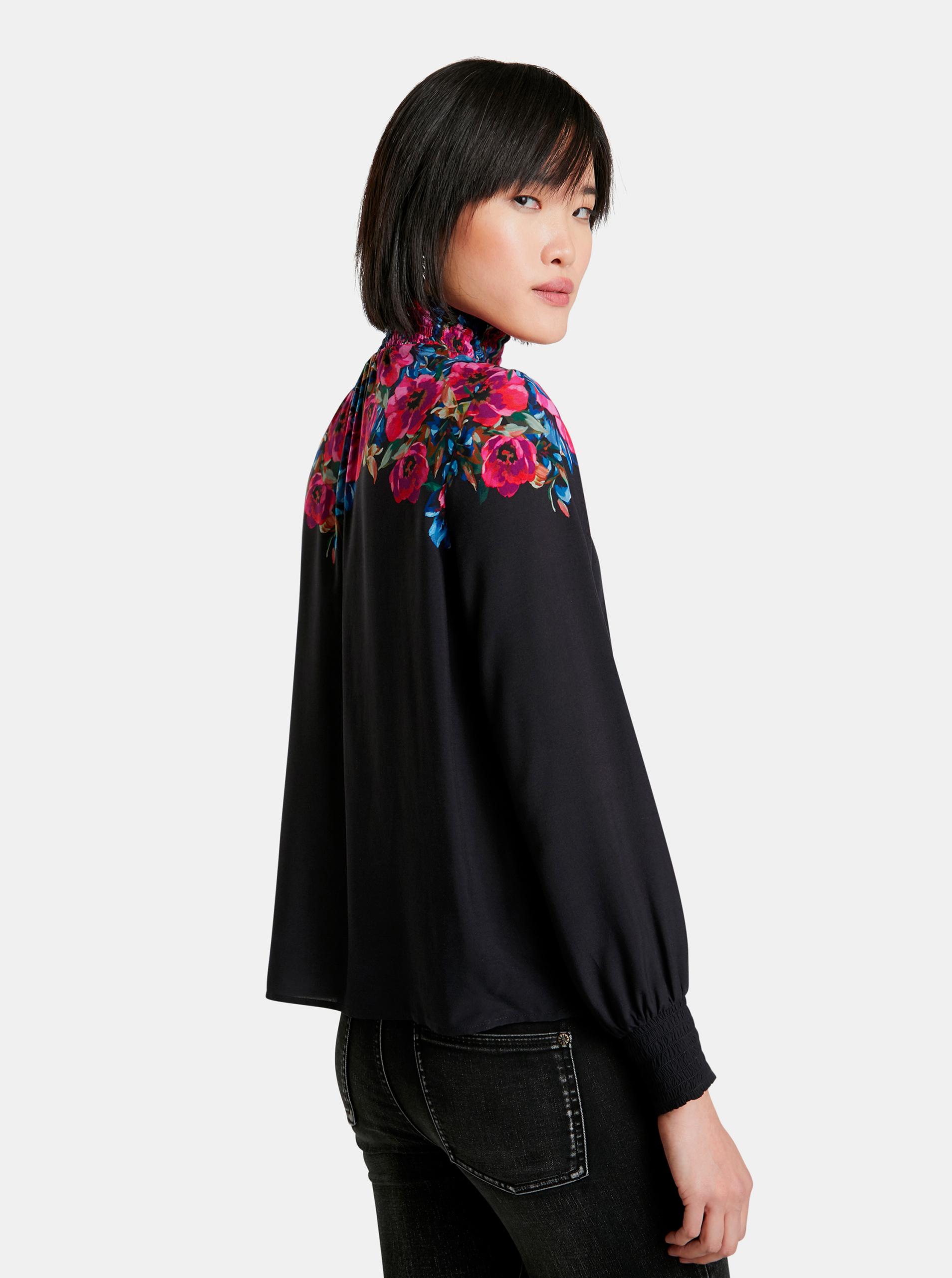 Desigual crna bluza Petunia s cvjetnim motivom