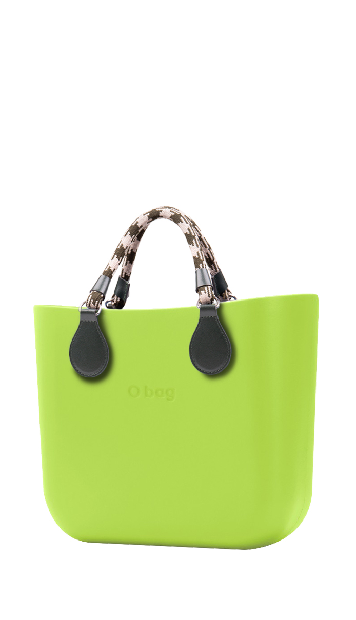 O bag  zelena torbica MINI Green Apple/Mela s kratkim konopcima ručke Verde Scuro