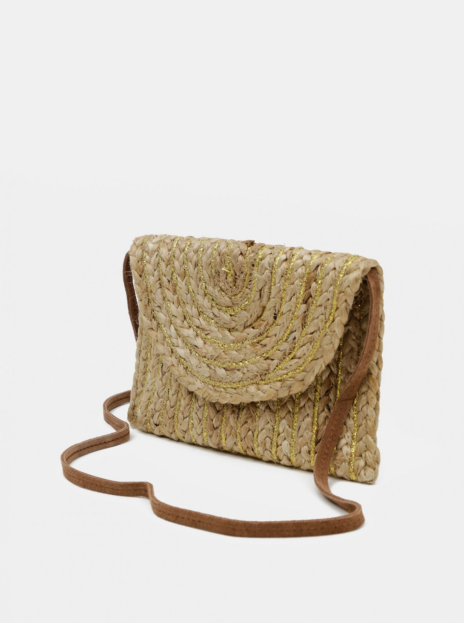 Bež crossbody torbica od jute Cross Pieces Mecky
