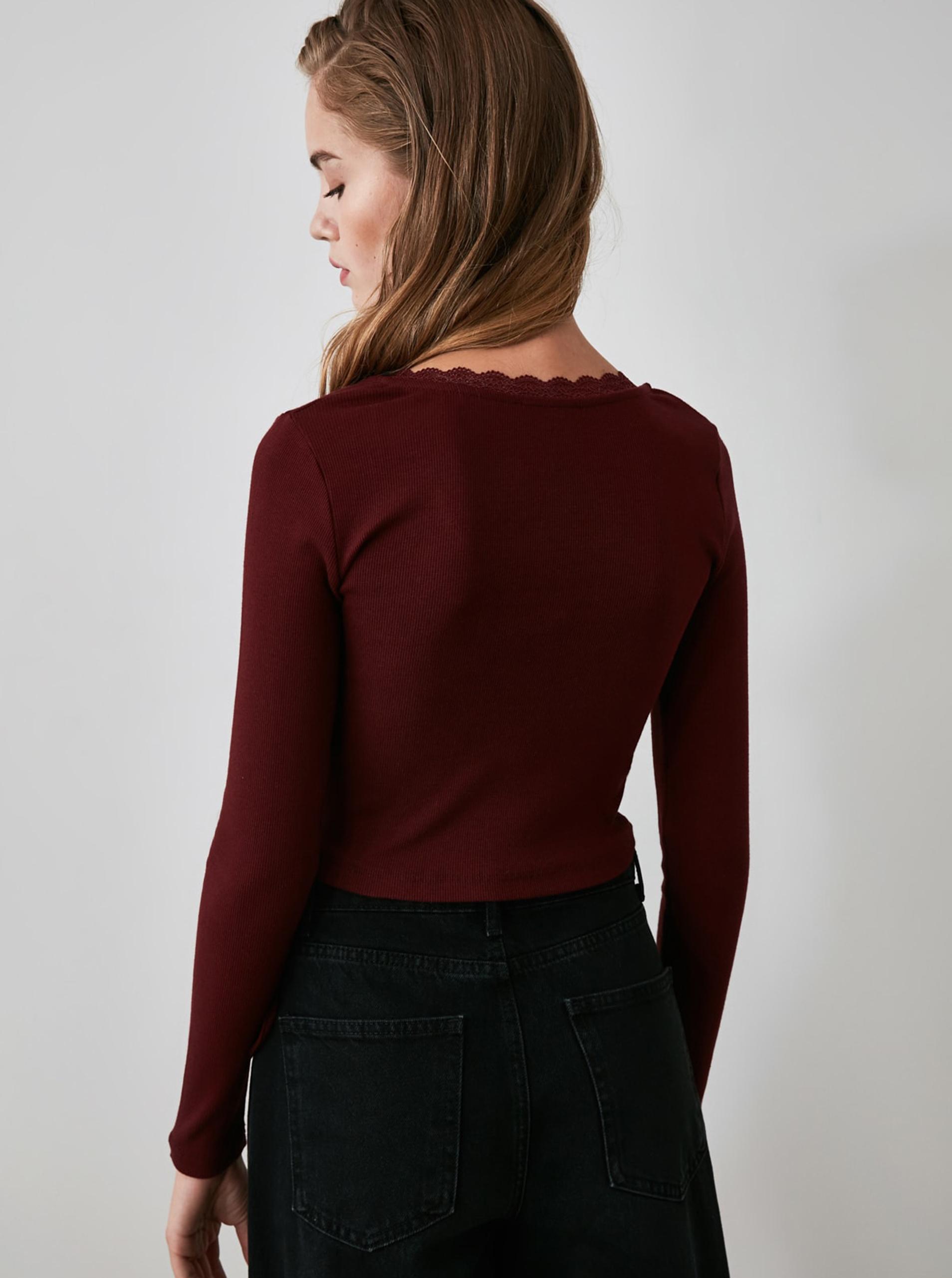 Bordo kratka majica s povezom Trendyol