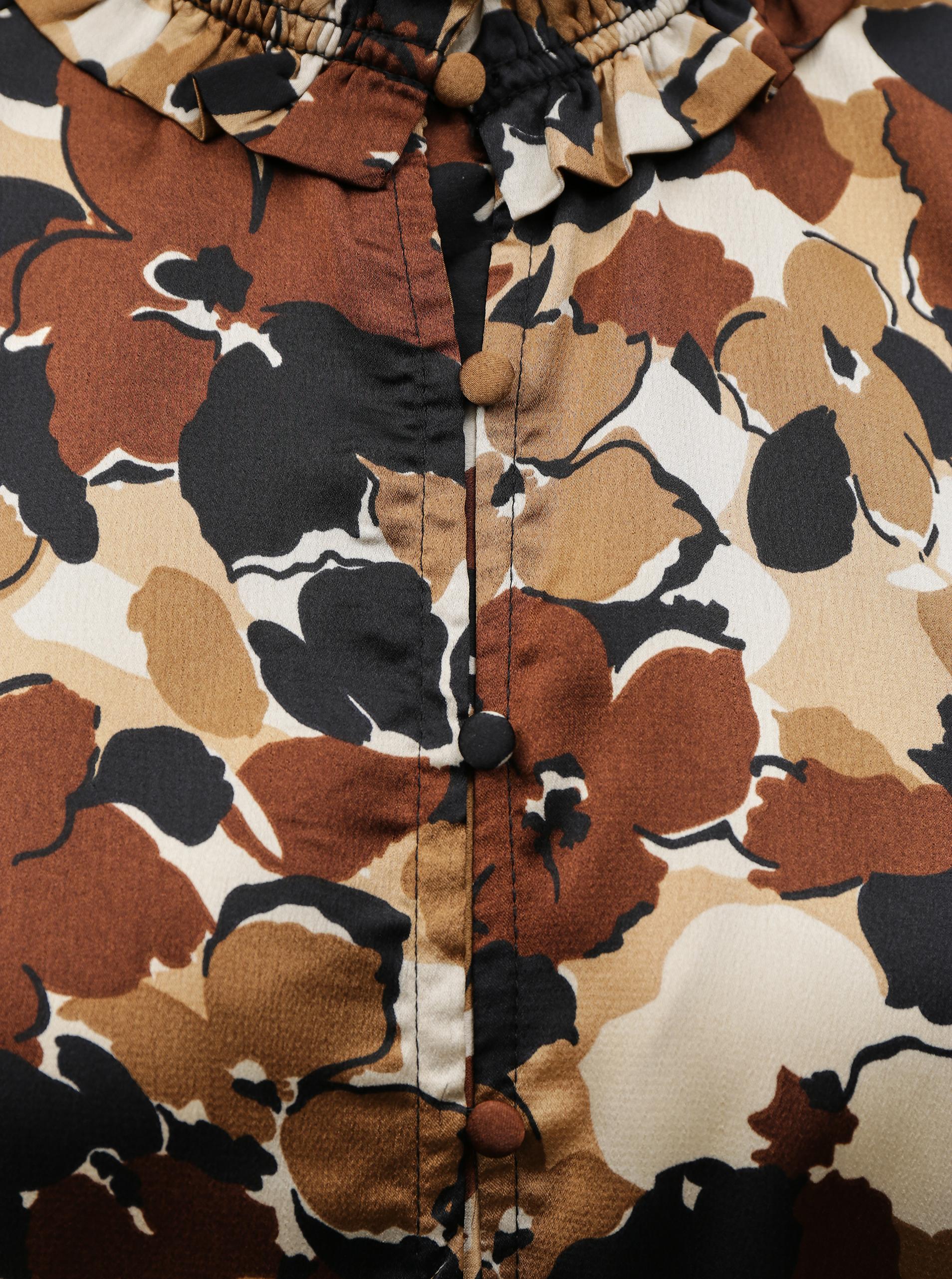 Smeđa cvjetna bluza SAMO